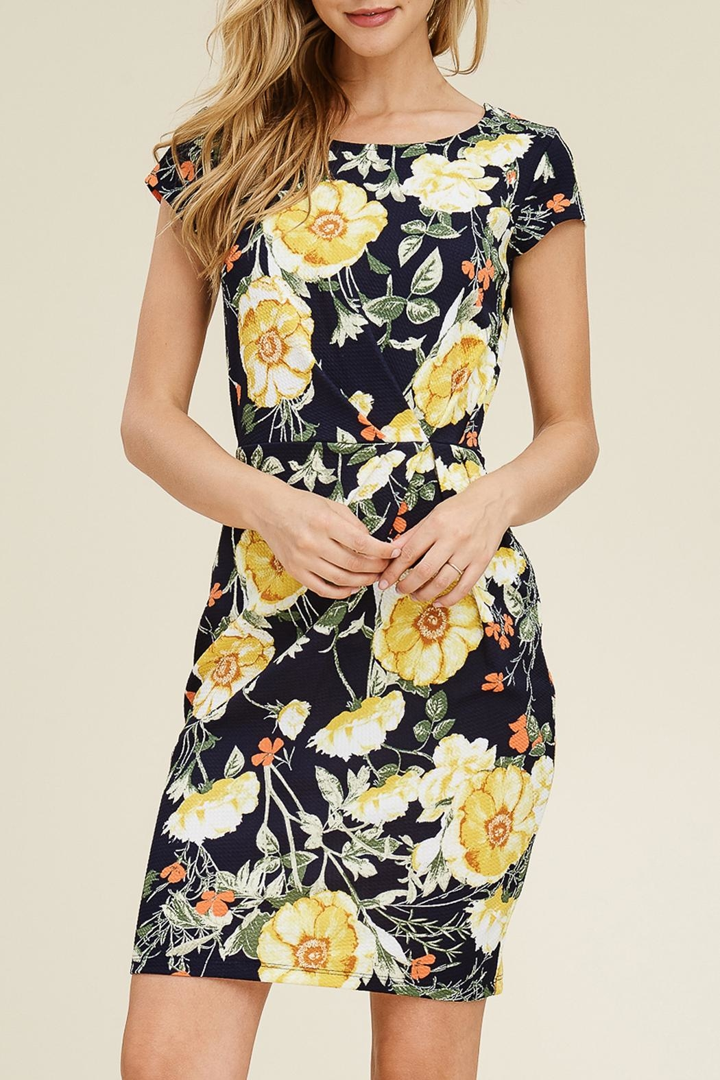 Riah Fashion Floral Cap-Sleeve Dress - Front Full Image
