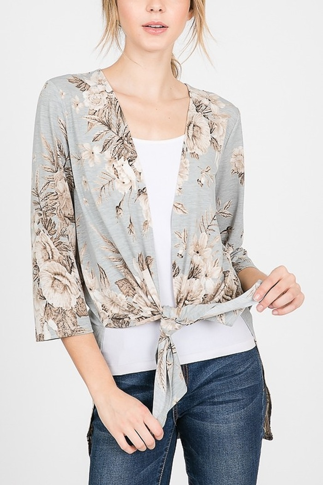 Lyn -Maree's Floral Cardi with Side Slit - Front Full Image