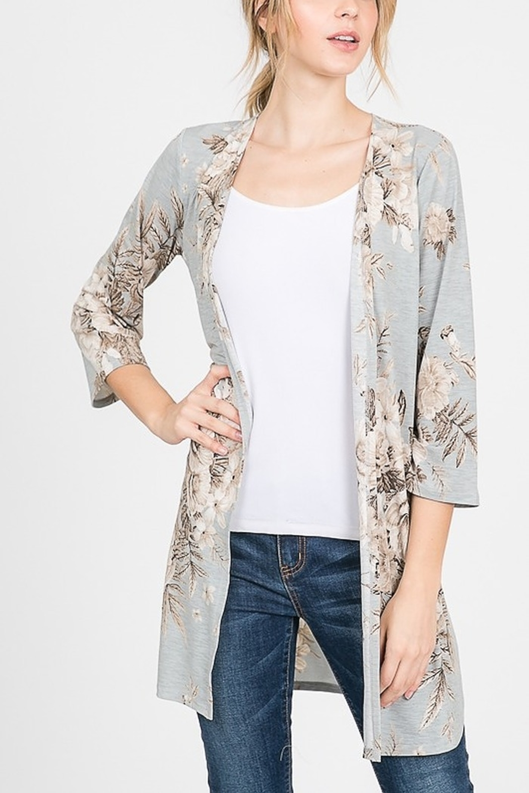 Lyn -Maree's Floral Cardi with Side Slit - Main Image