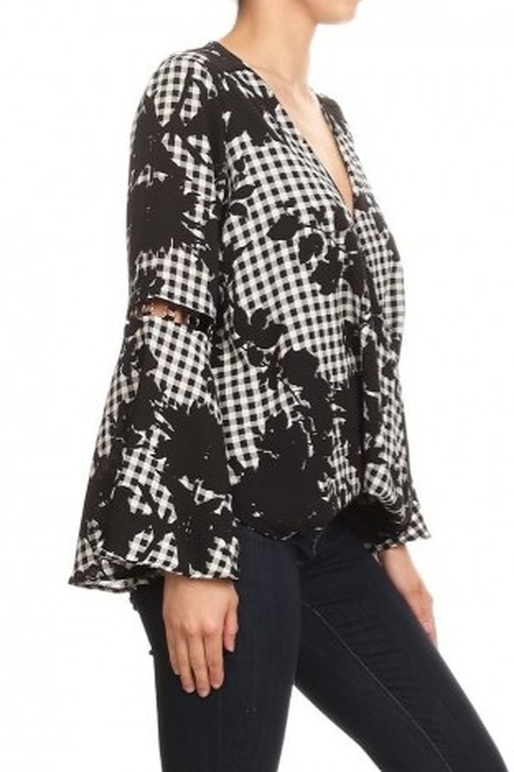 Ariella Floral Checkered Top With Ring Detail - Front Full Image