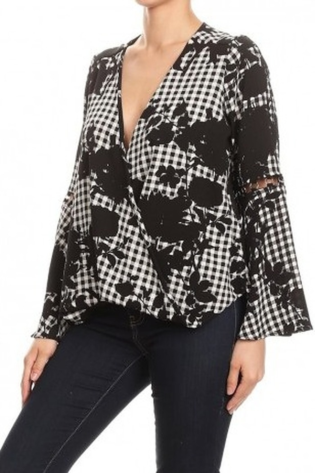 Ariella Floral Checkered Top With Ring Detail - Main Image