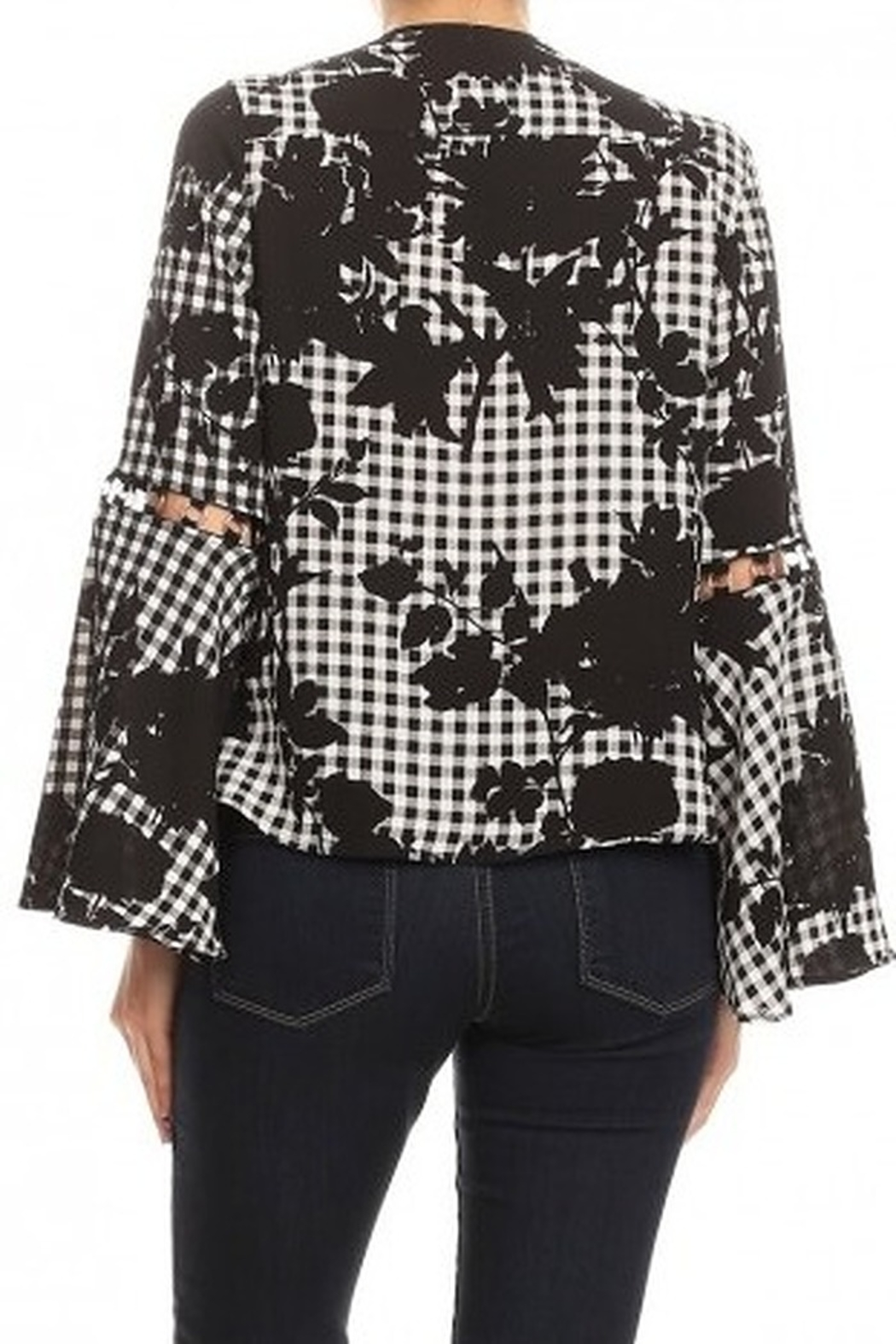 Ariella Floral Checkered Top With Ring Detail - Side Cropped Image