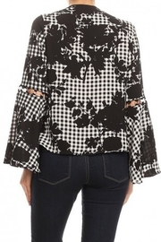 Ariella Floral Checkered Top With Ring Detail - Side cropped