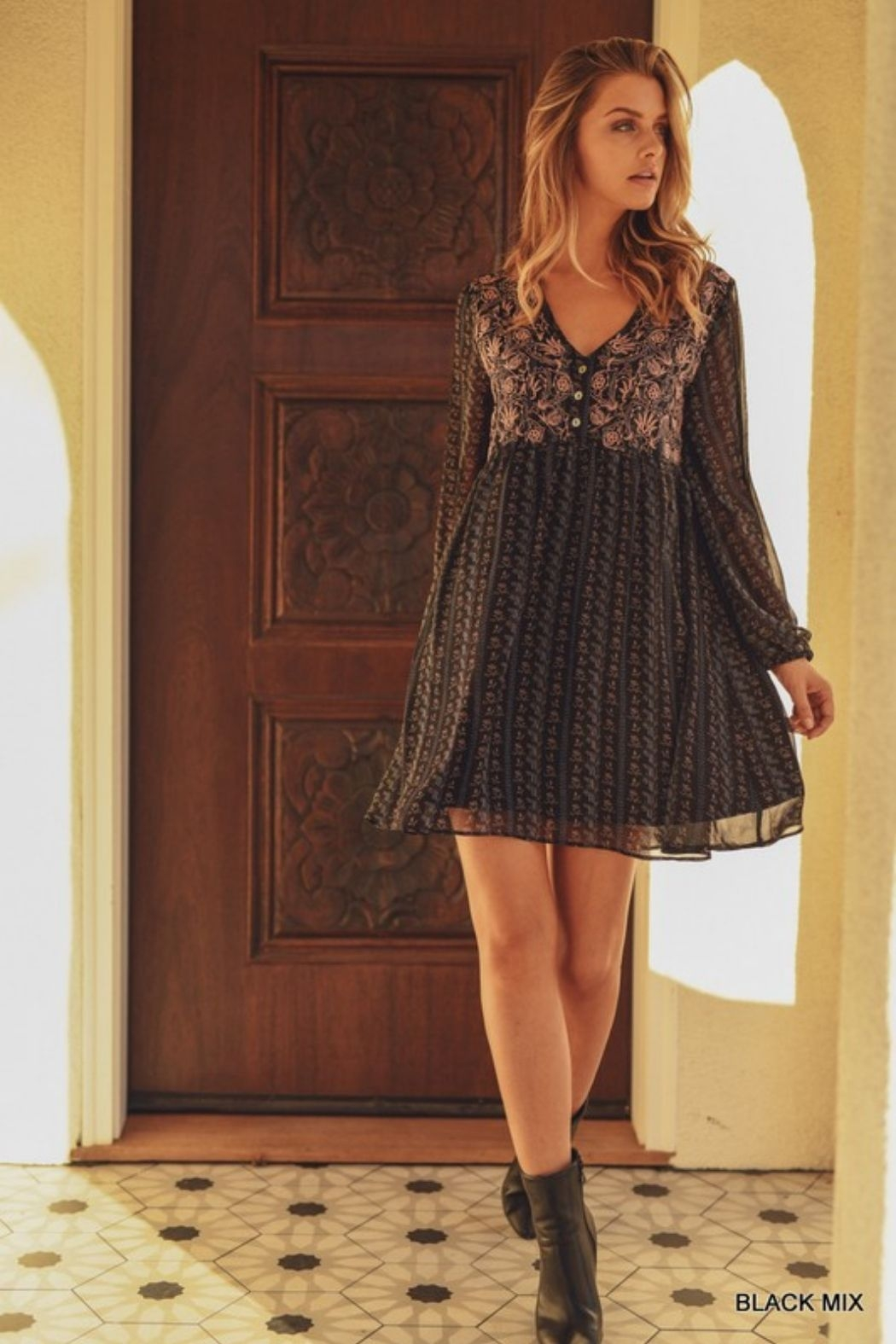 Jodifl Floral Chiffon Embroidered Baby Doll Dress - Front Full Image