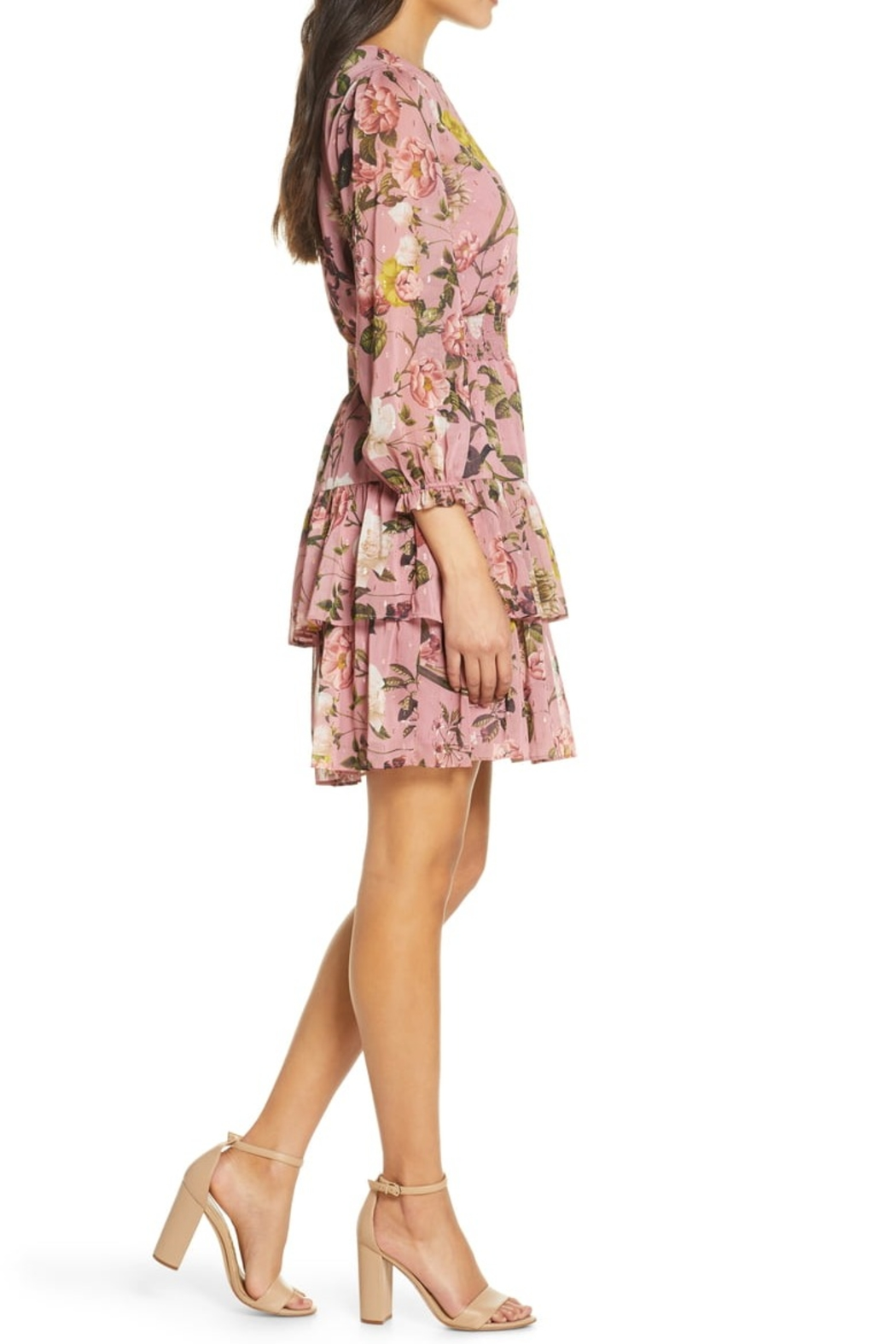 Eliza J Floral Chiffon Long Sleeve Dress with Tiered Skirt - Front Full Image