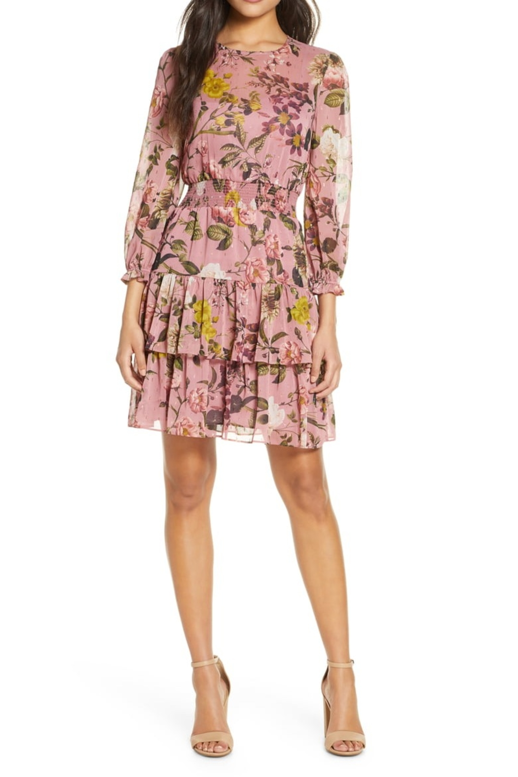 Eliza J Floral Chiffon Long Sleeve Dress with Tiered Skirt - Main Image