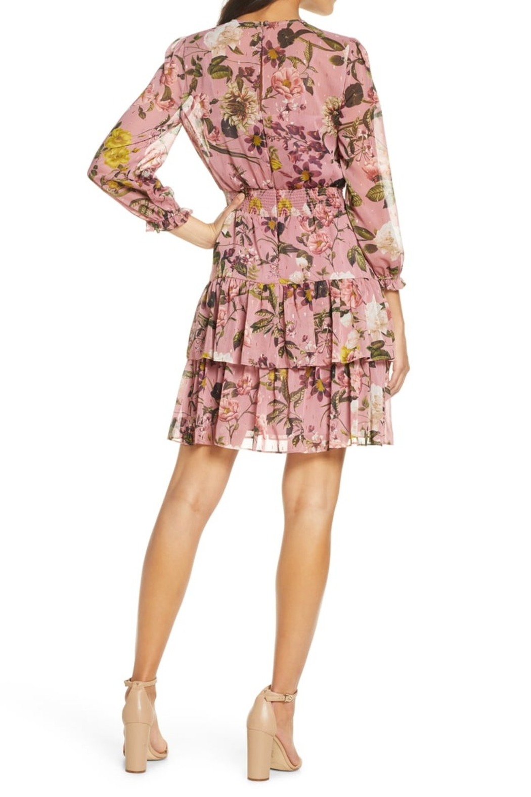 Eliza J Floral Chiffon Long Sleeve Dress with Tiered Skirt - Side Cropped Image