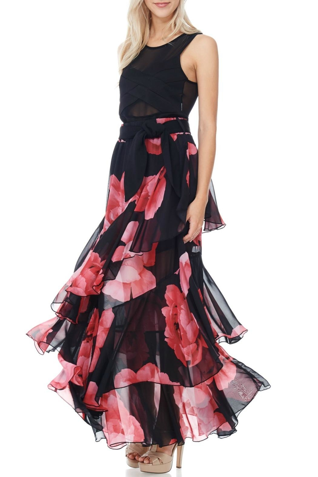 TOV Floral Chiffon Maxi - Front Cropped Image