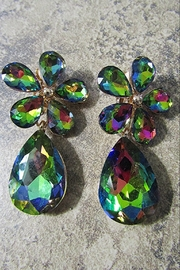 Sophia FLORAL CLUSTER GREEN AB CLIP EARRING. Large Teardrop.Gold metal setting. - Product Mini Image