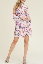 Riah Fashion Floral Cold-Shoulder Dress - Front full body