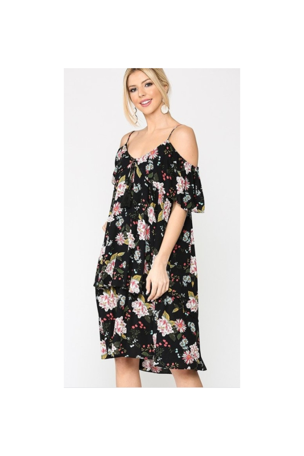 GiGiO Floral Cold Shoulder Ruffle Layered Dress - Main Image