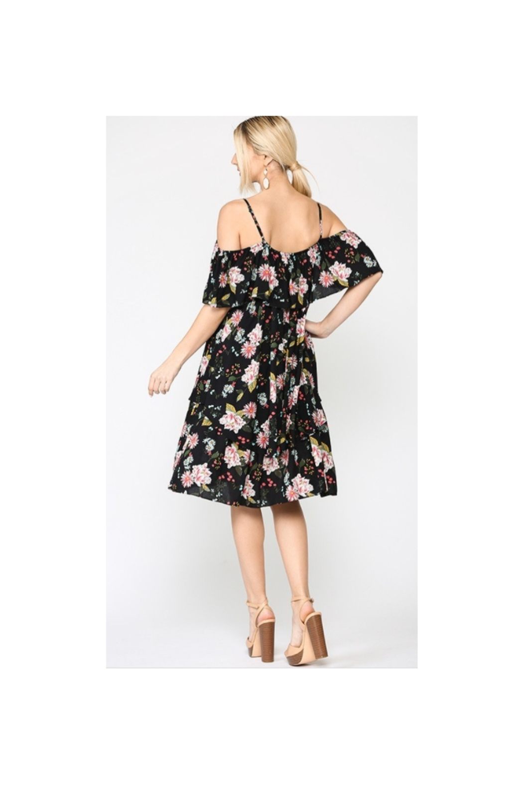 GiGiO Floral Cold Shoulder Ruffle Layered Dress - Front Full Image