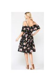 GiGiO Floral Cold Shoulder Ruffle Layered Dress - Front full body