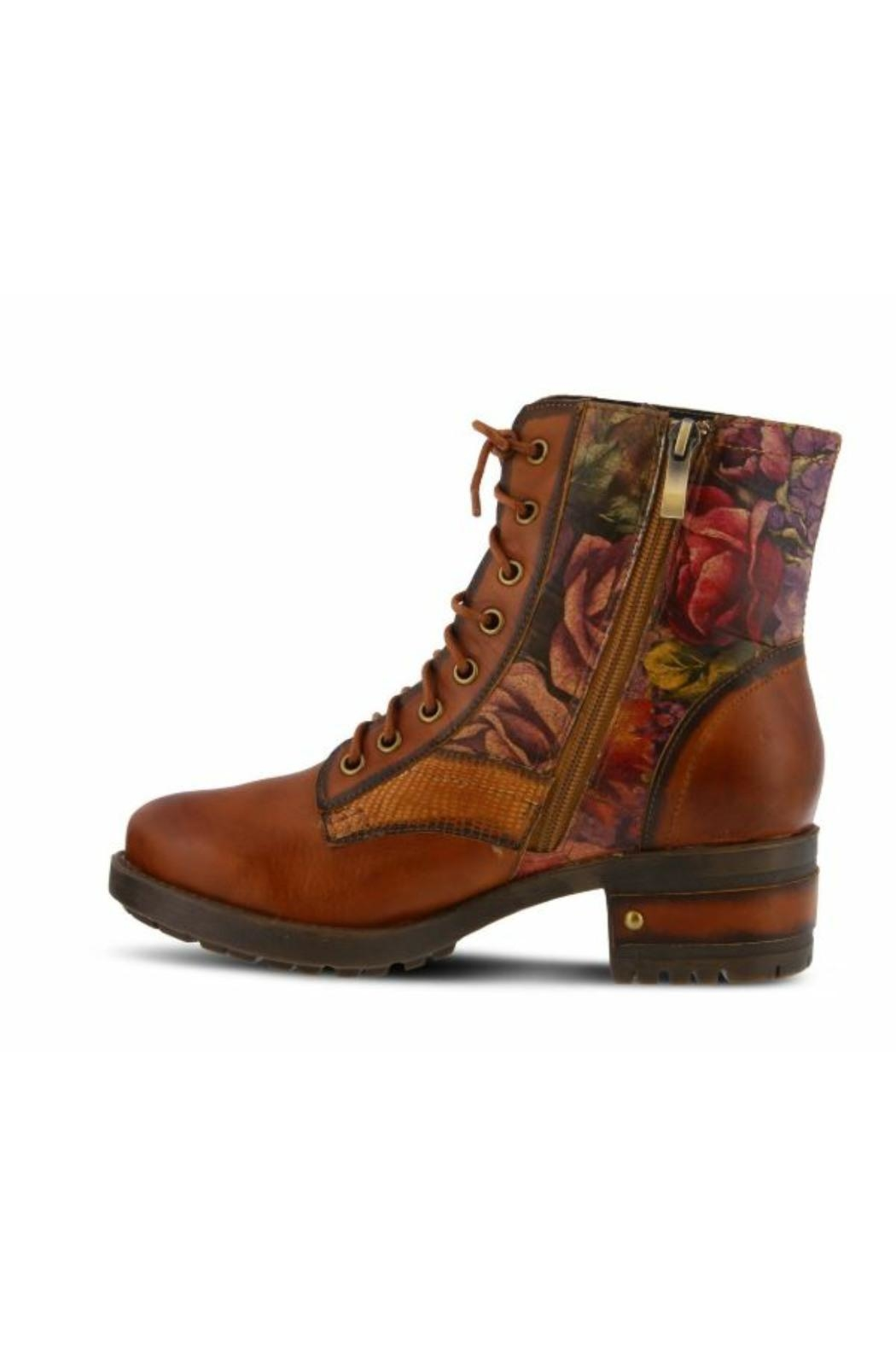 Spring Step  Floral Combat Boot - Front Full Image