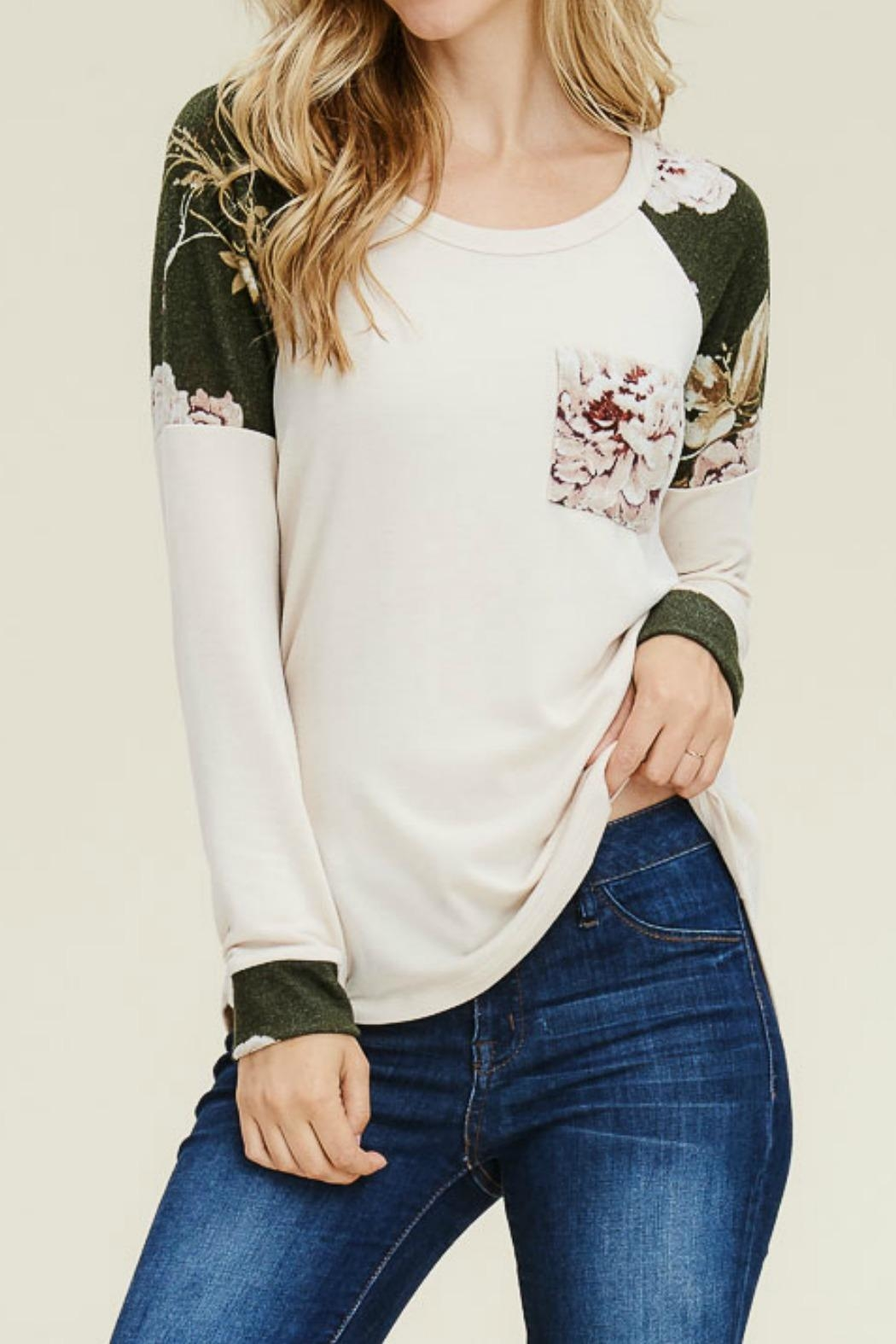 Staccato Floral Contrasted Top - Main Image
