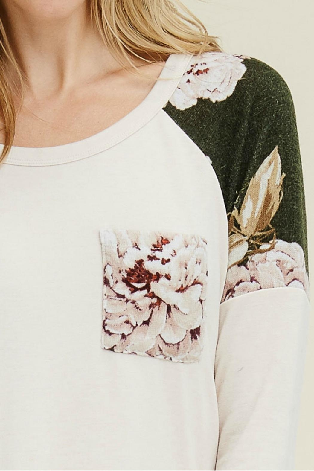 Staccato Floral Contrasted Top - Side Cropped Image
