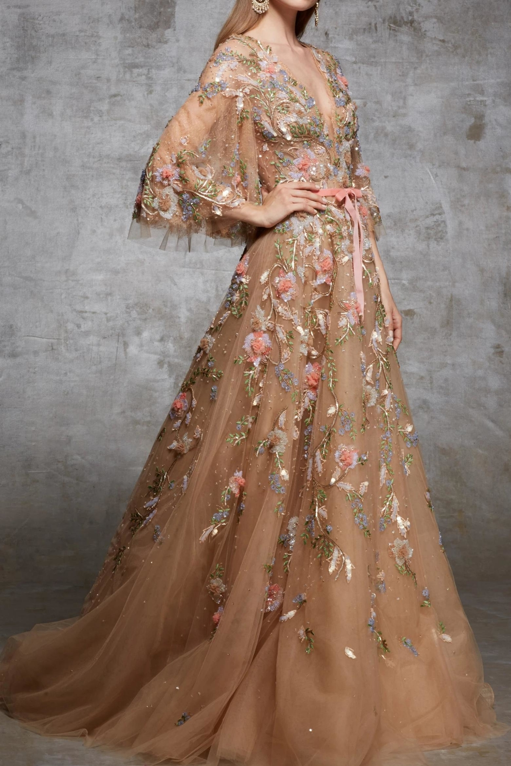 Marchesa Floral Couture Gown - Side Cropped Image