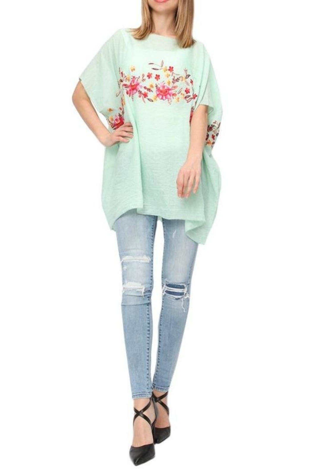 Life Is Beautiful Floral Cover-Up Poncho - Front Cropped Image