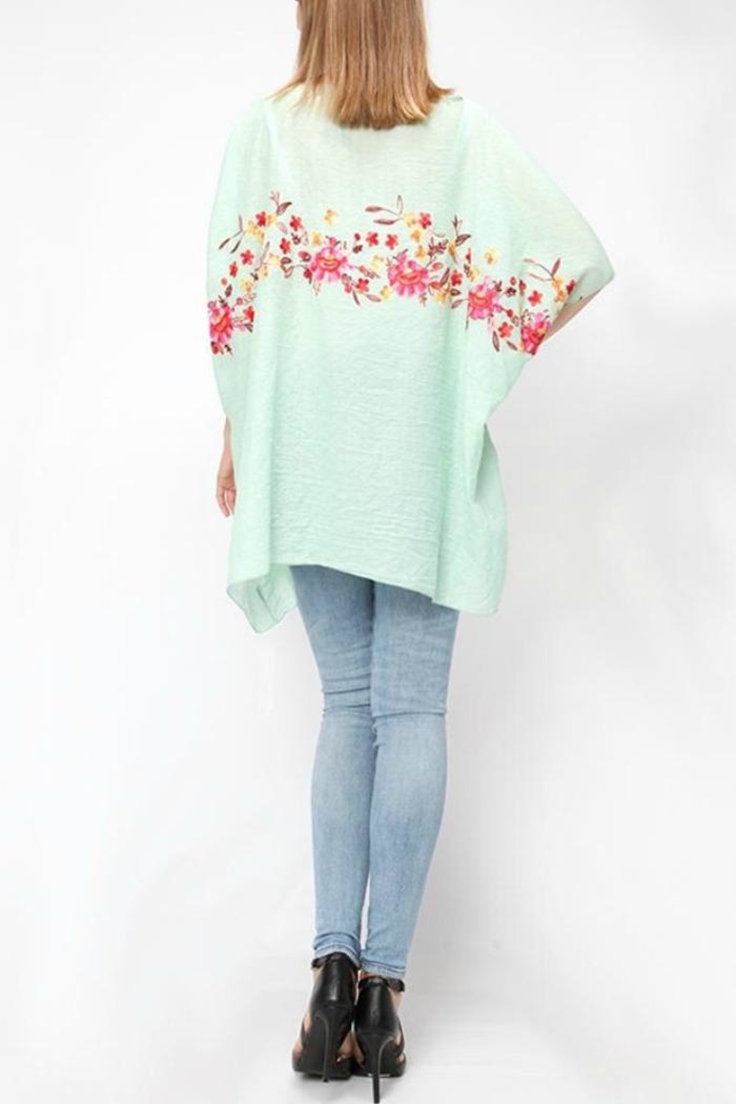 Life Is Beautiful Floral Cover-Up Poncho - Side Cropped Image