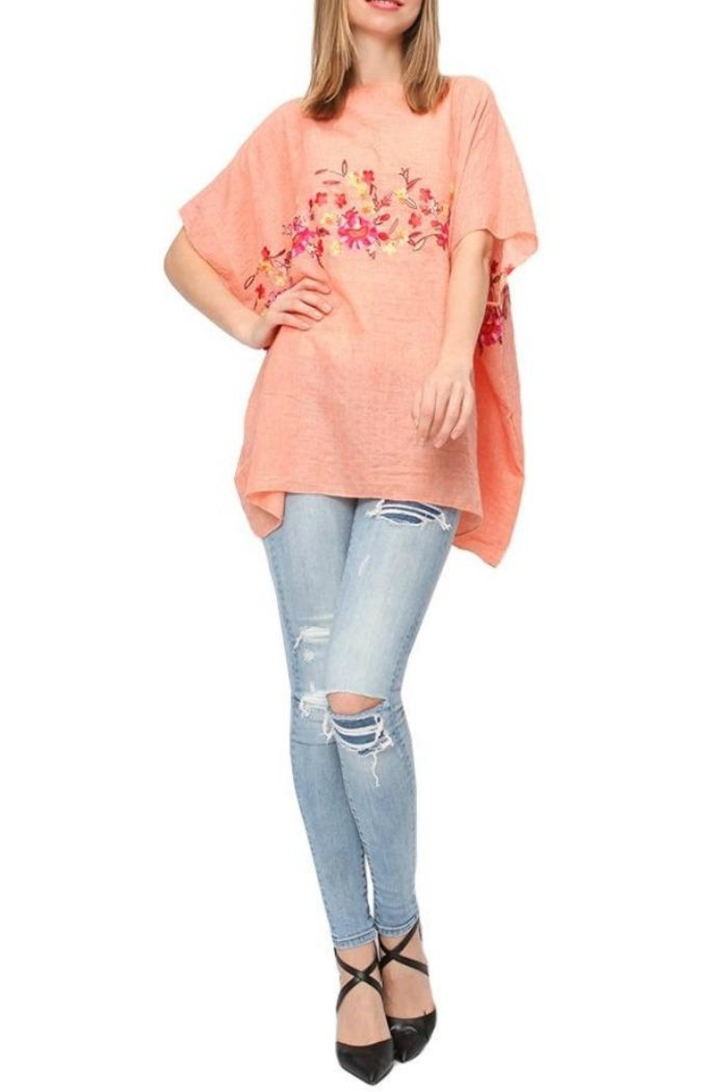 Life Is Beautiful Floral Cover-Up Poncho - Main Image