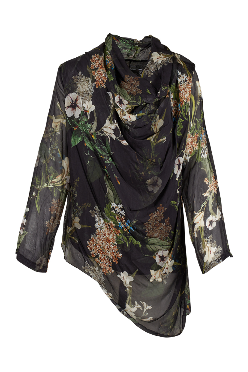 M made in Italy Floral Cowl Neck Blouse w Asymmetrical Hemline - Main Image