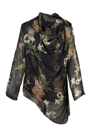 M made in Italy Floral Cowl Neck Blouse w Asymmetrical Hemline - Product Mini Image