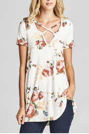 Cotton Bleu Floral Crisscross Tunic - Product Mini Image