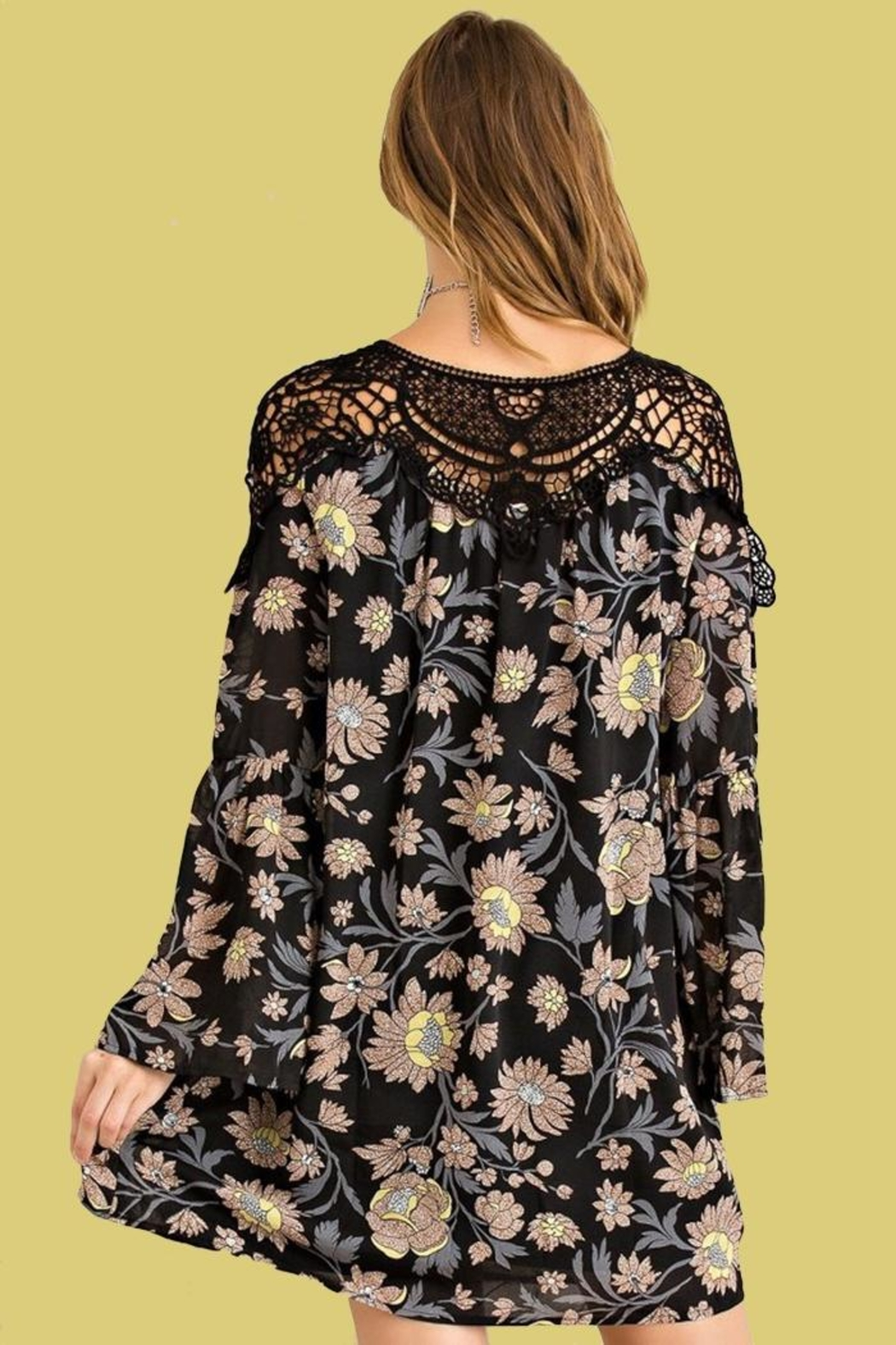 People Outfitter Floral Crochet Dress - Side Cropped Image