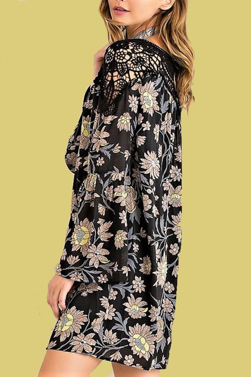 People Outfitter Floral Crochet Dress - Front Full Image