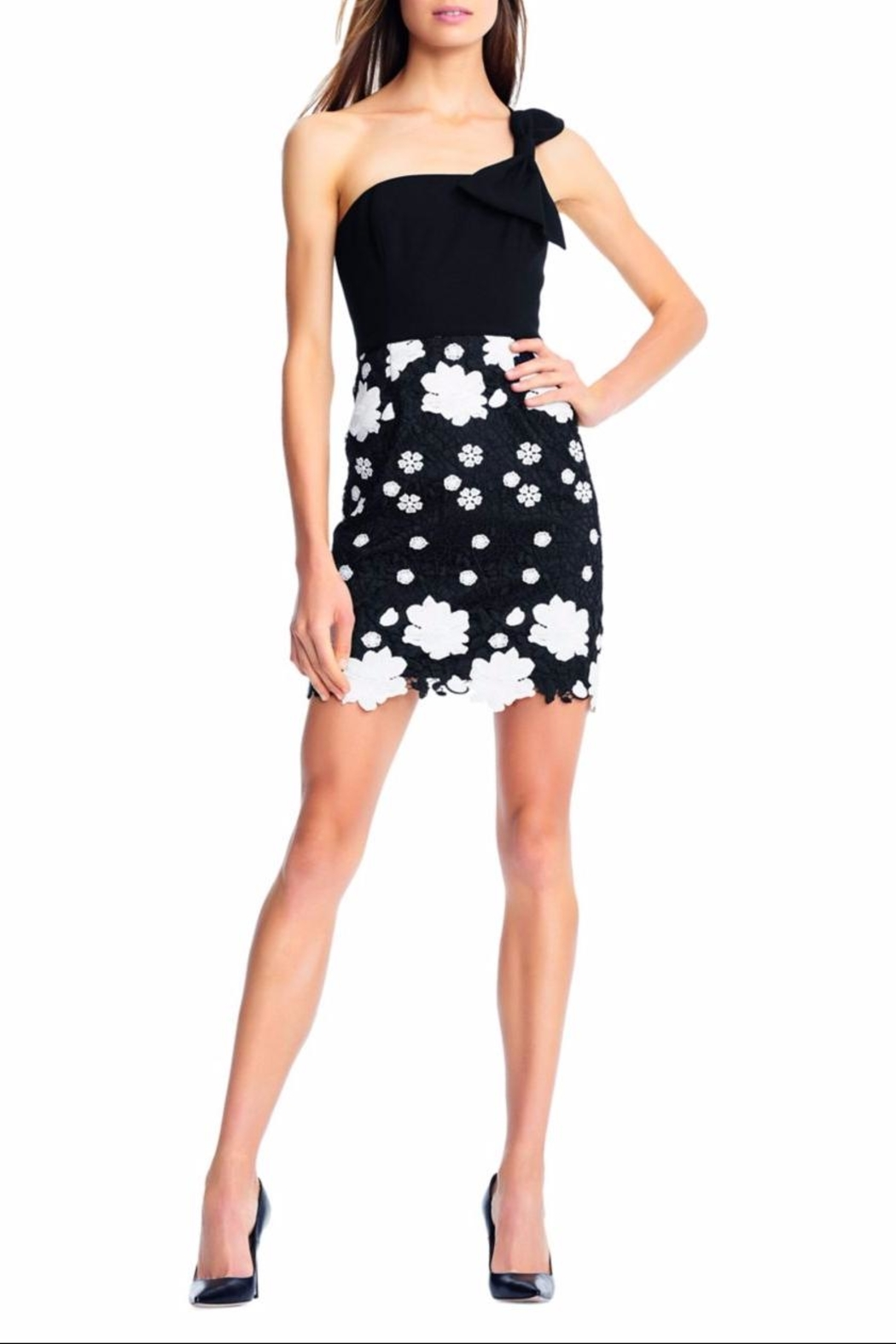 Aidan by Aidan Mattox Floral Crochet One-Shoulder - Front Cropped Image