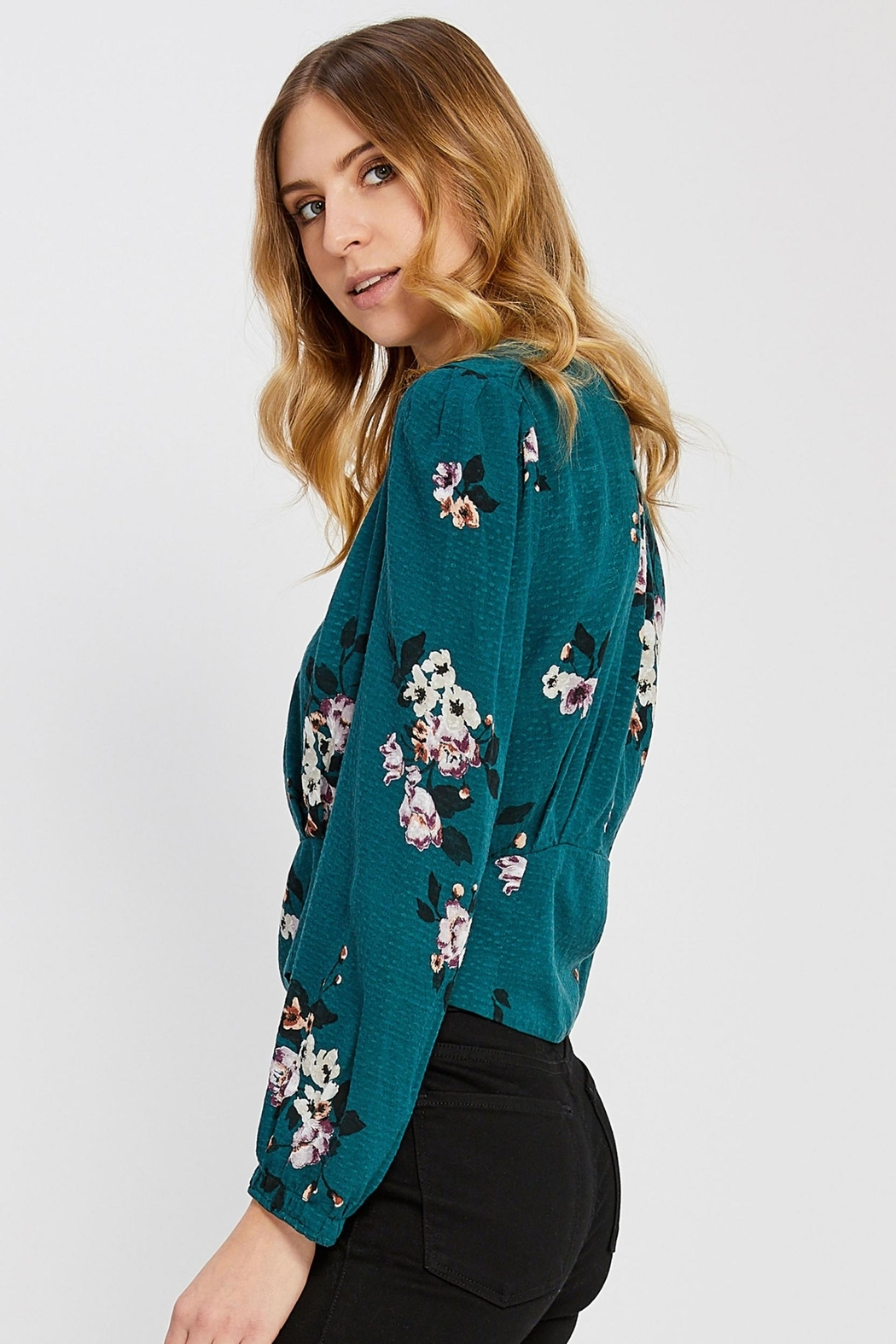 Gentle Fawn Floral Cropped Blouse - Front Full Image