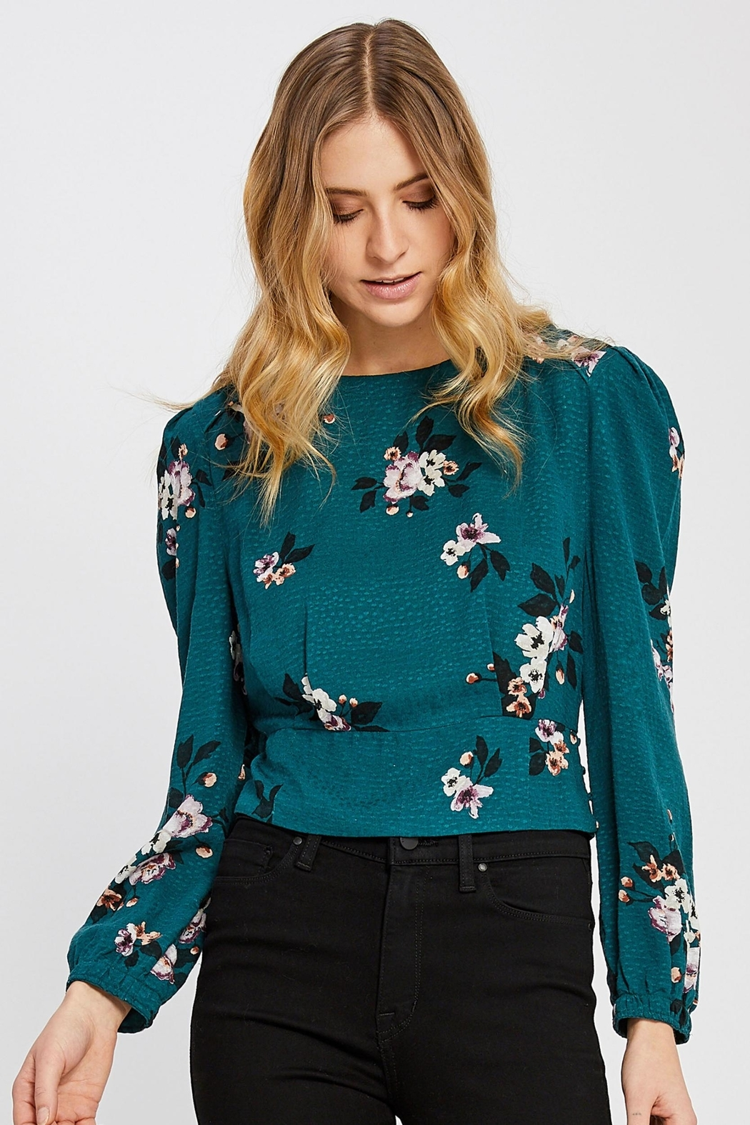 Gentle Fawn Floral Cropped Blouse - Main Image