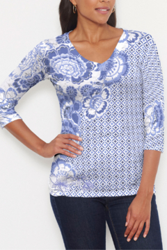 Whimsy Rose Floral Crossing Geo ~ Signature 3/4 V-Neck T - Product List Image