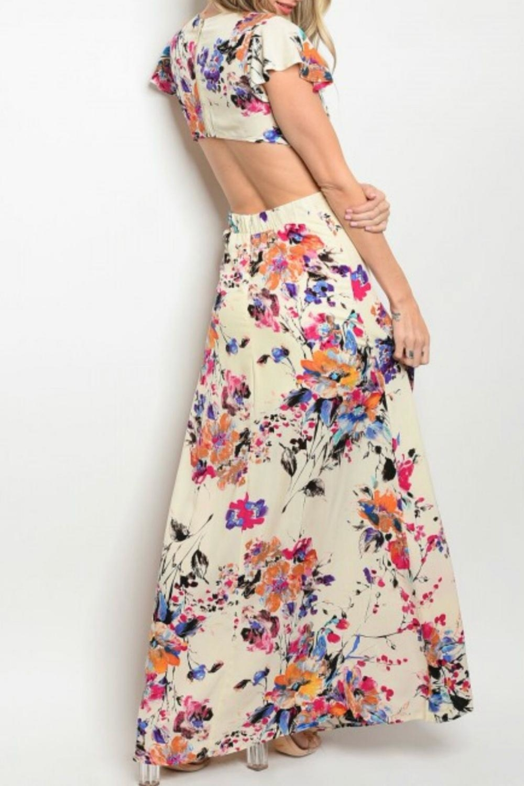 Solaris Style Floral Cut-Out Dress - Front Full Image