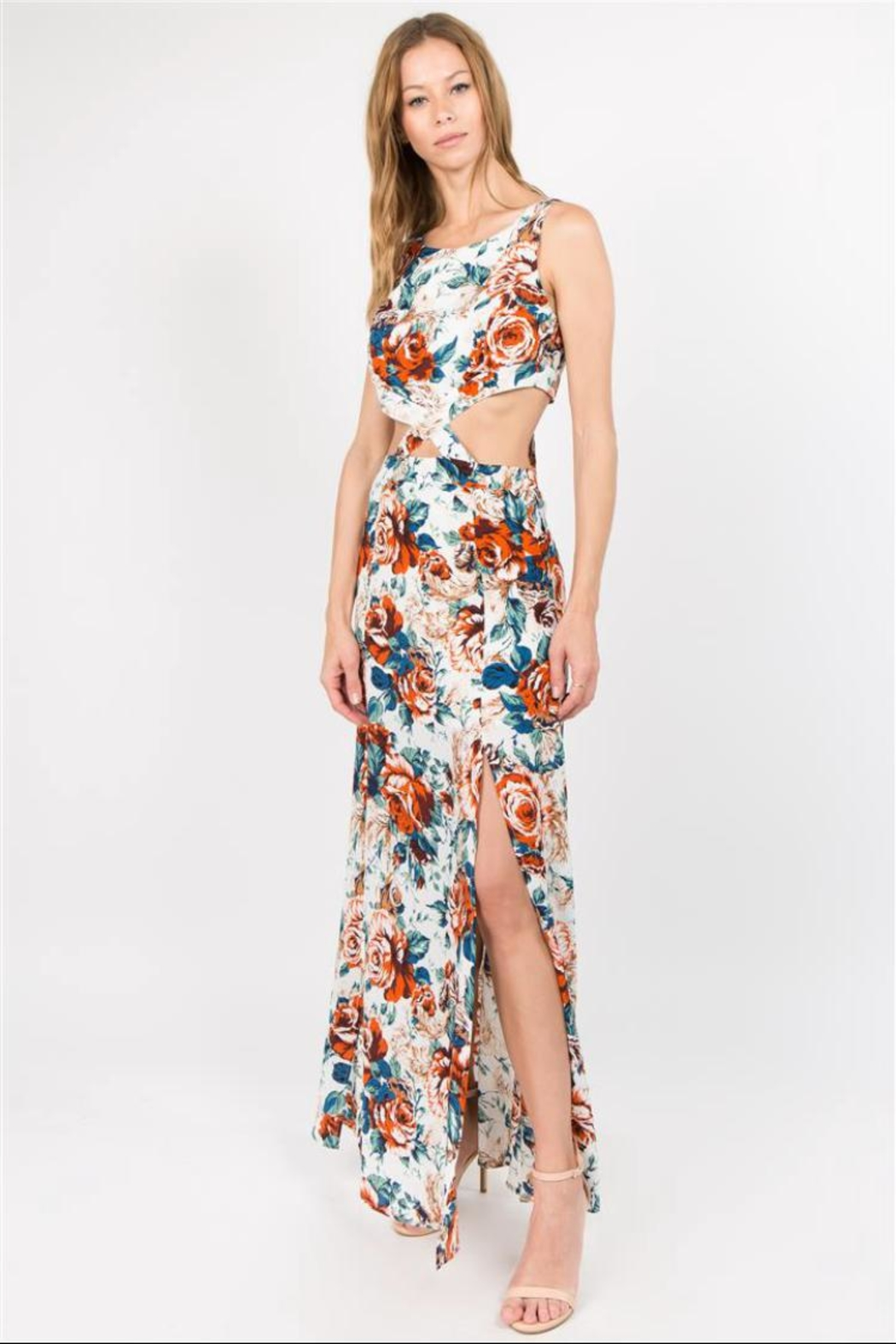 Lulumari Floral Cut-Out Maxi - Front Cropped Image