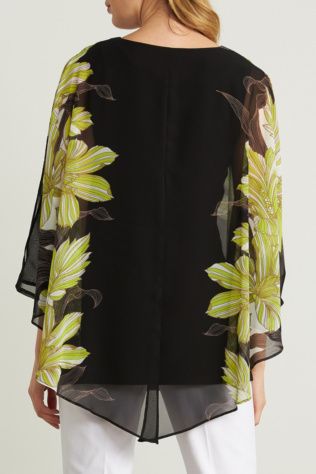 Joseph Ribkoff  Floral Cut-out Sleeve Blouse - Side Cropped Image