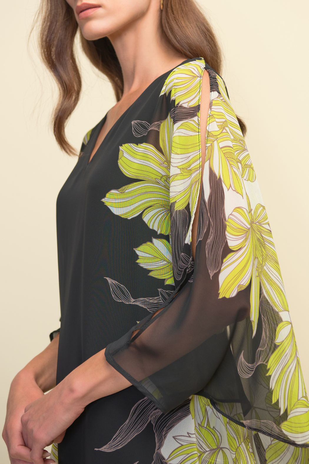 Joseph Ribkoff  Floral Cut-out Sleeve Blouse - Main Image
