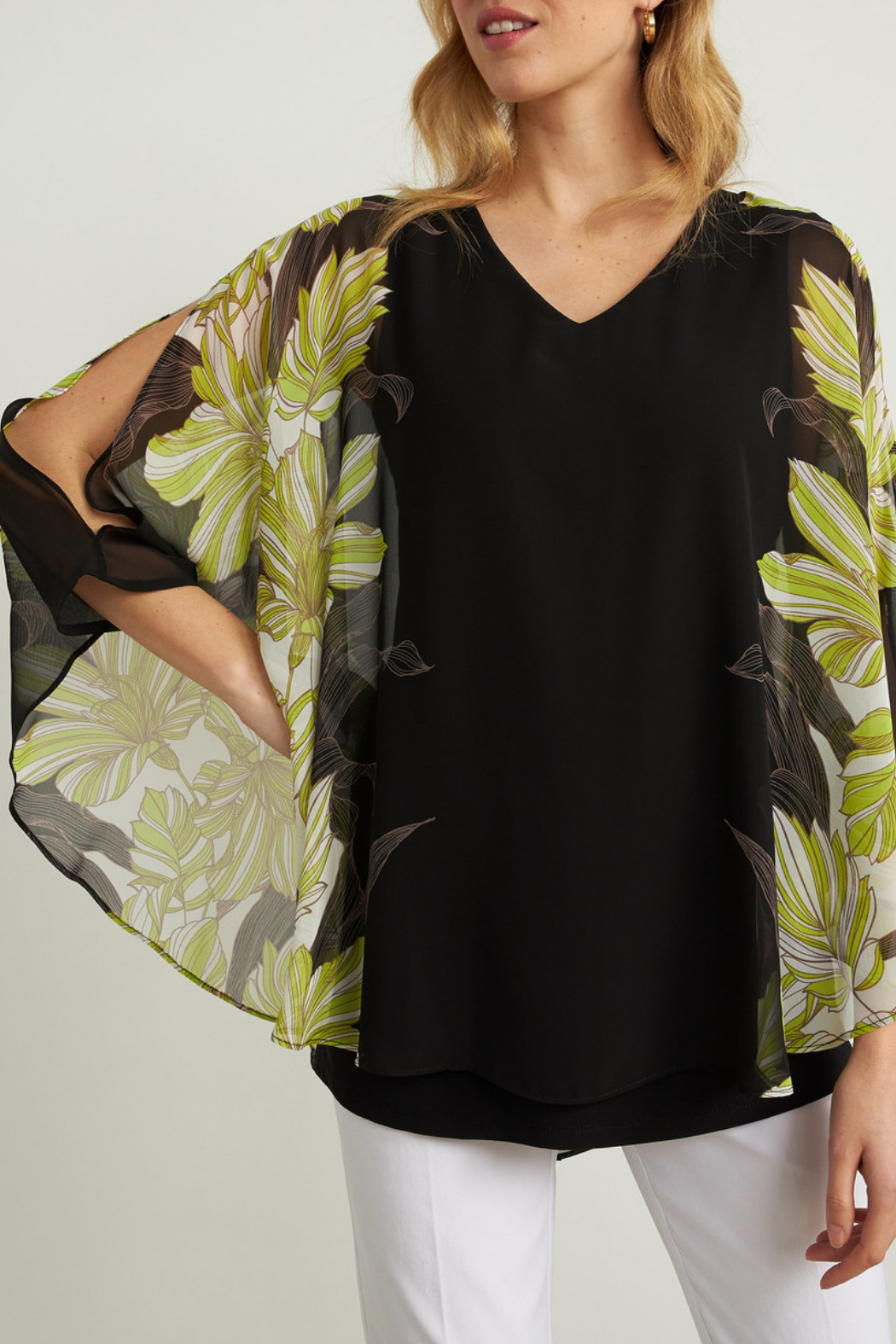 Joseph Ribkoff  Floral Cut-out Sleeve Blouse - Front Full Image