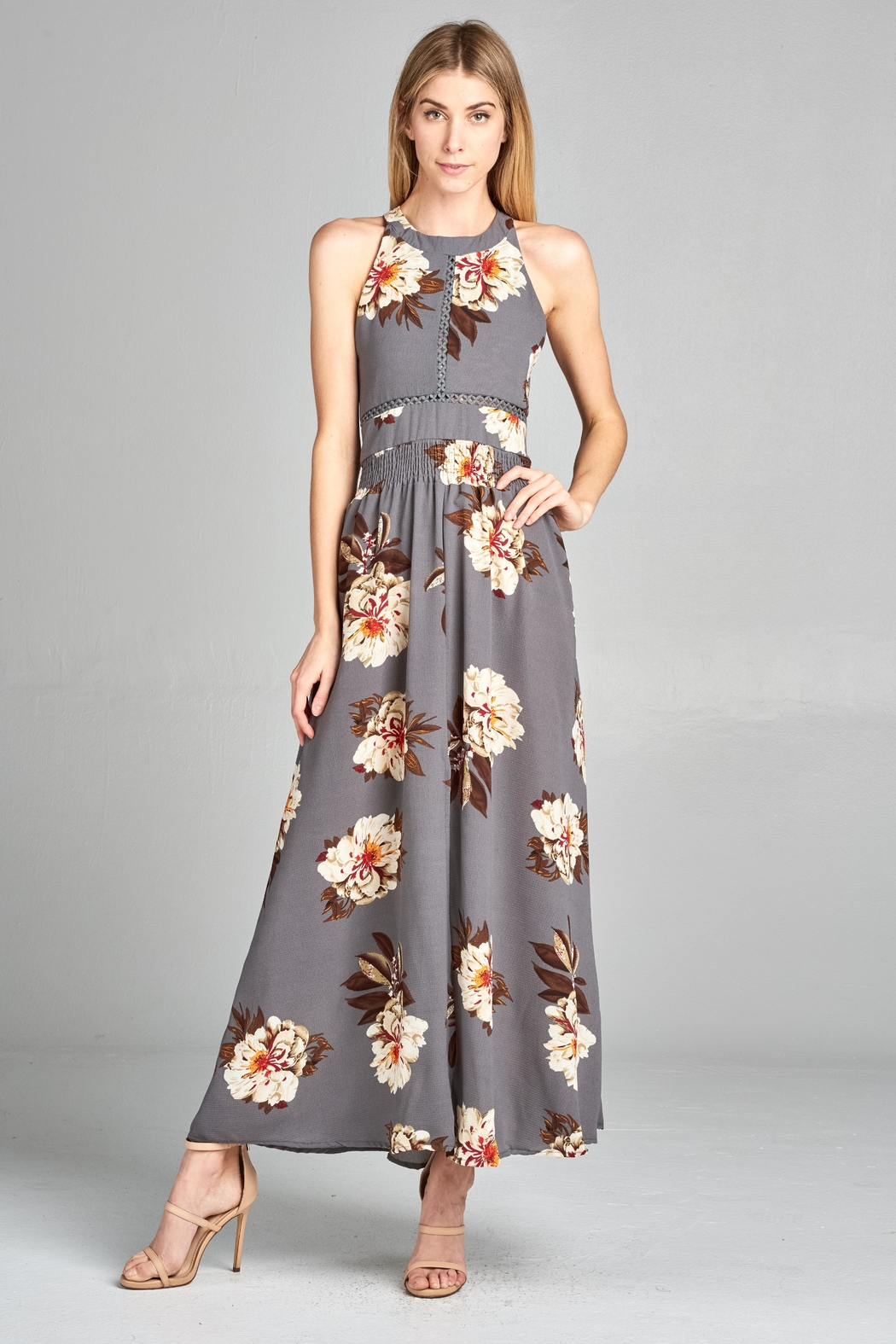Racine Floral Cutout Maxidress - Back Cropped Image
