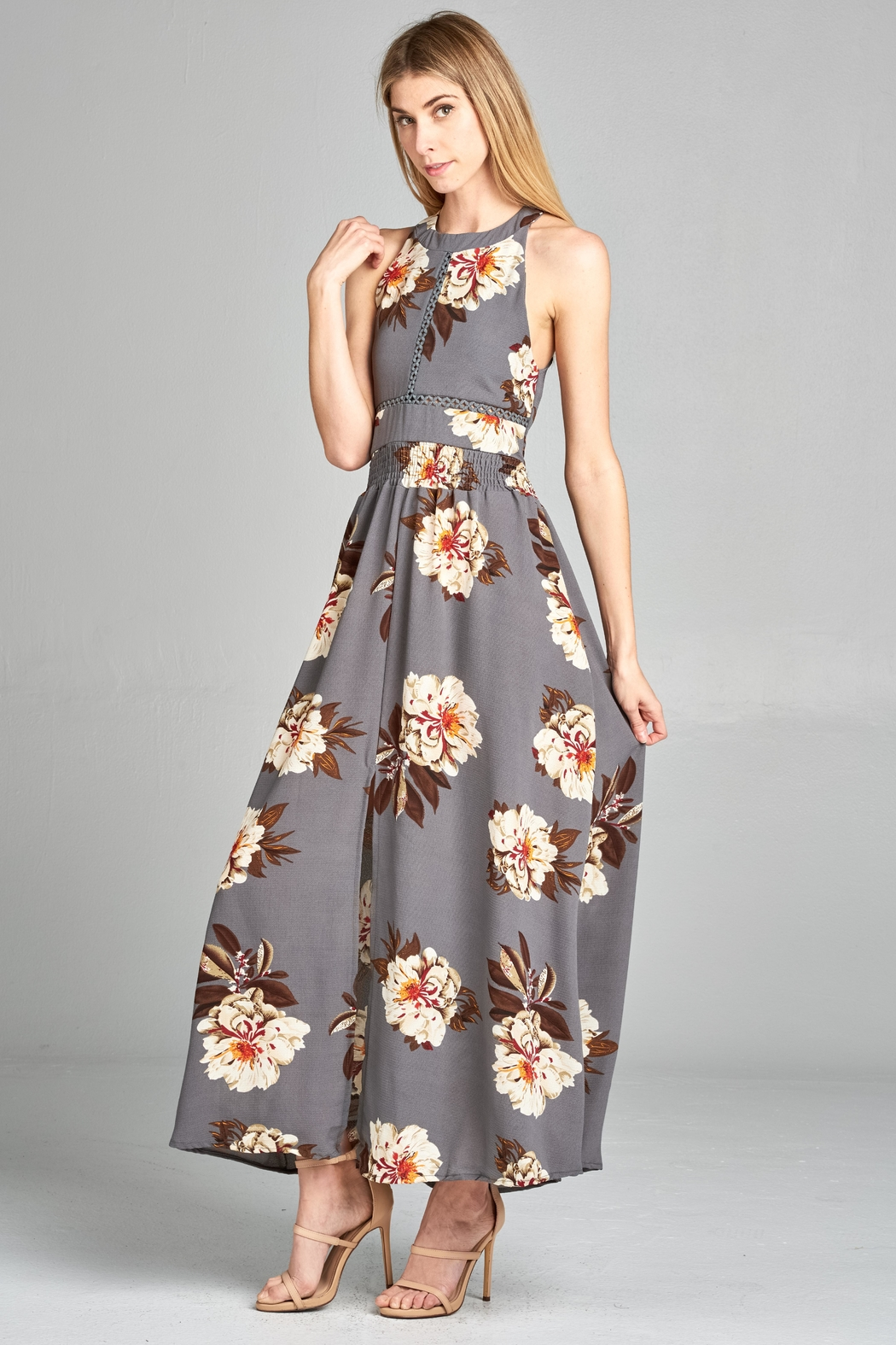 Racine Floral Cutout Maxidress - Front Cropped Image