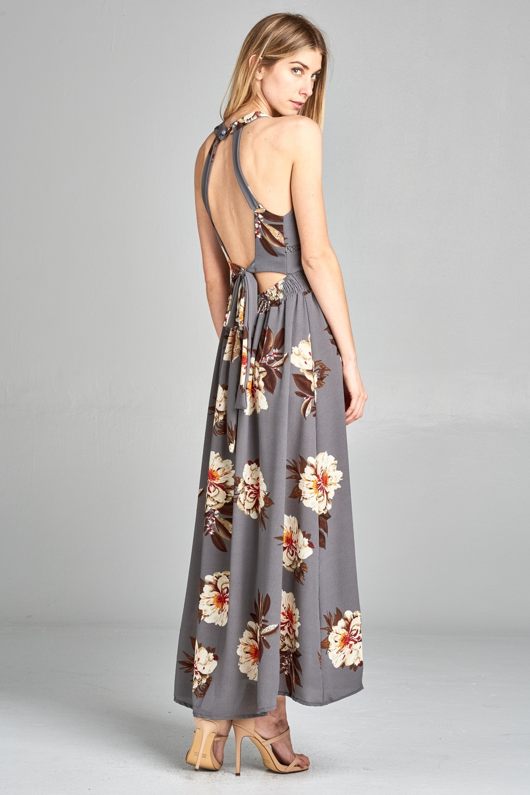 Racine Floral Cutout Maxidress - Side Cropped Image