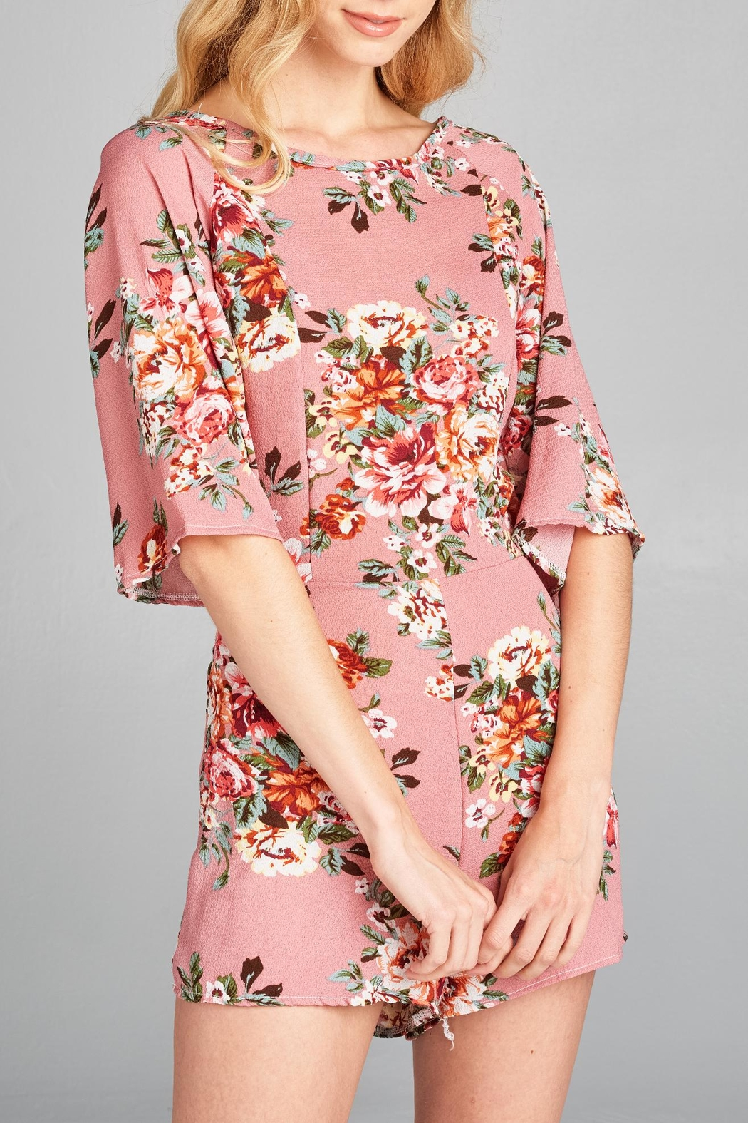 Racine Floral Cutout Romper - Front Cropped Image