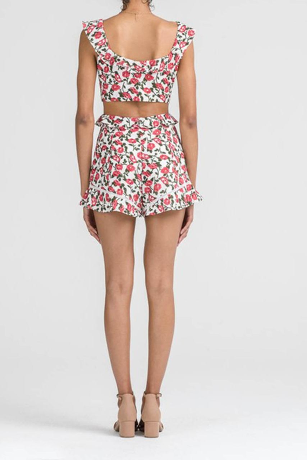 Lush Floral Cutout Romper - Side Cropped Image
