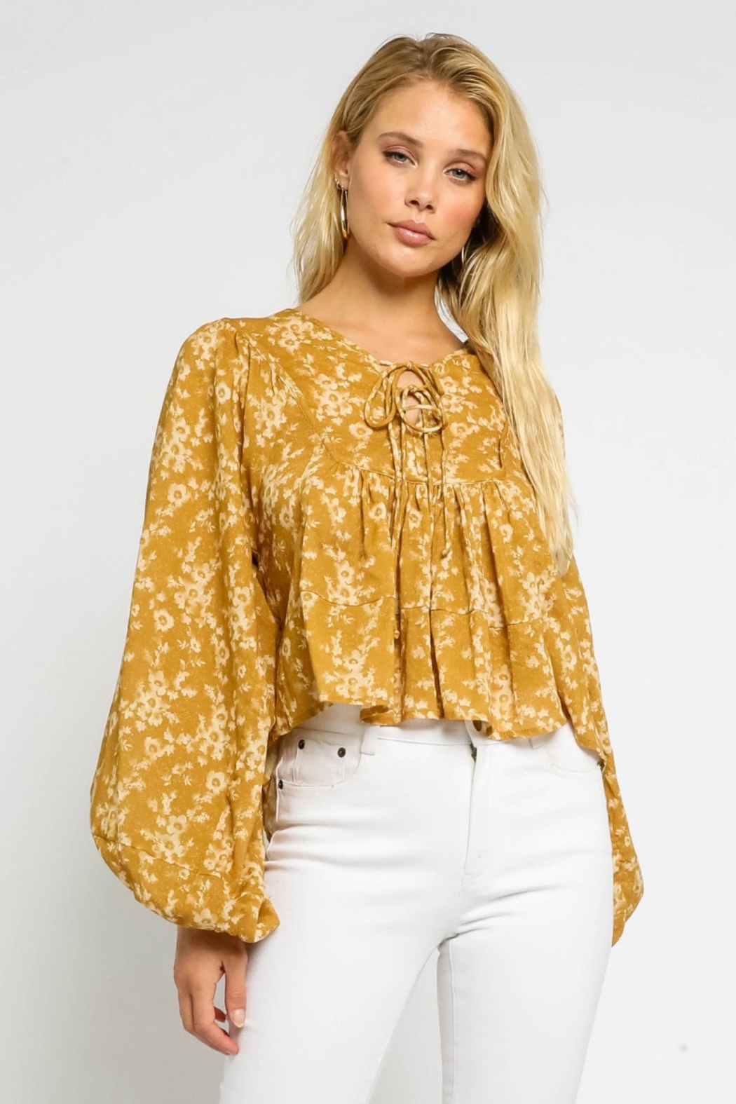 Olivaceous  Floral Double Tie Blouse - Front Cropped Image