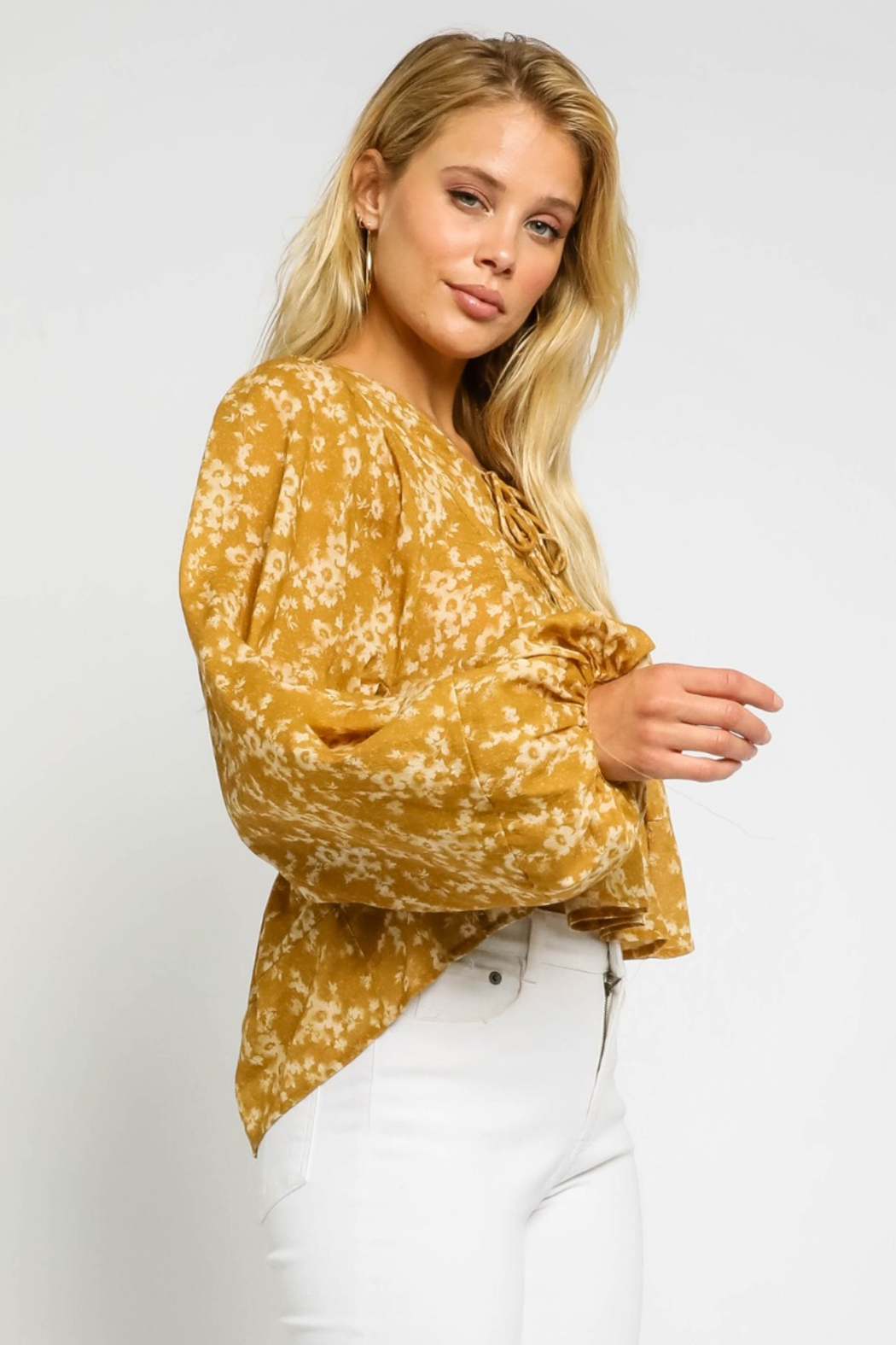 Olivaceous  Floral Double Tie Blouse - Back Cropped Image