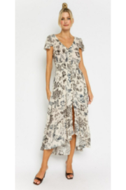Olivaceous  Floral Drawstring Maxi Dress - Front cropped