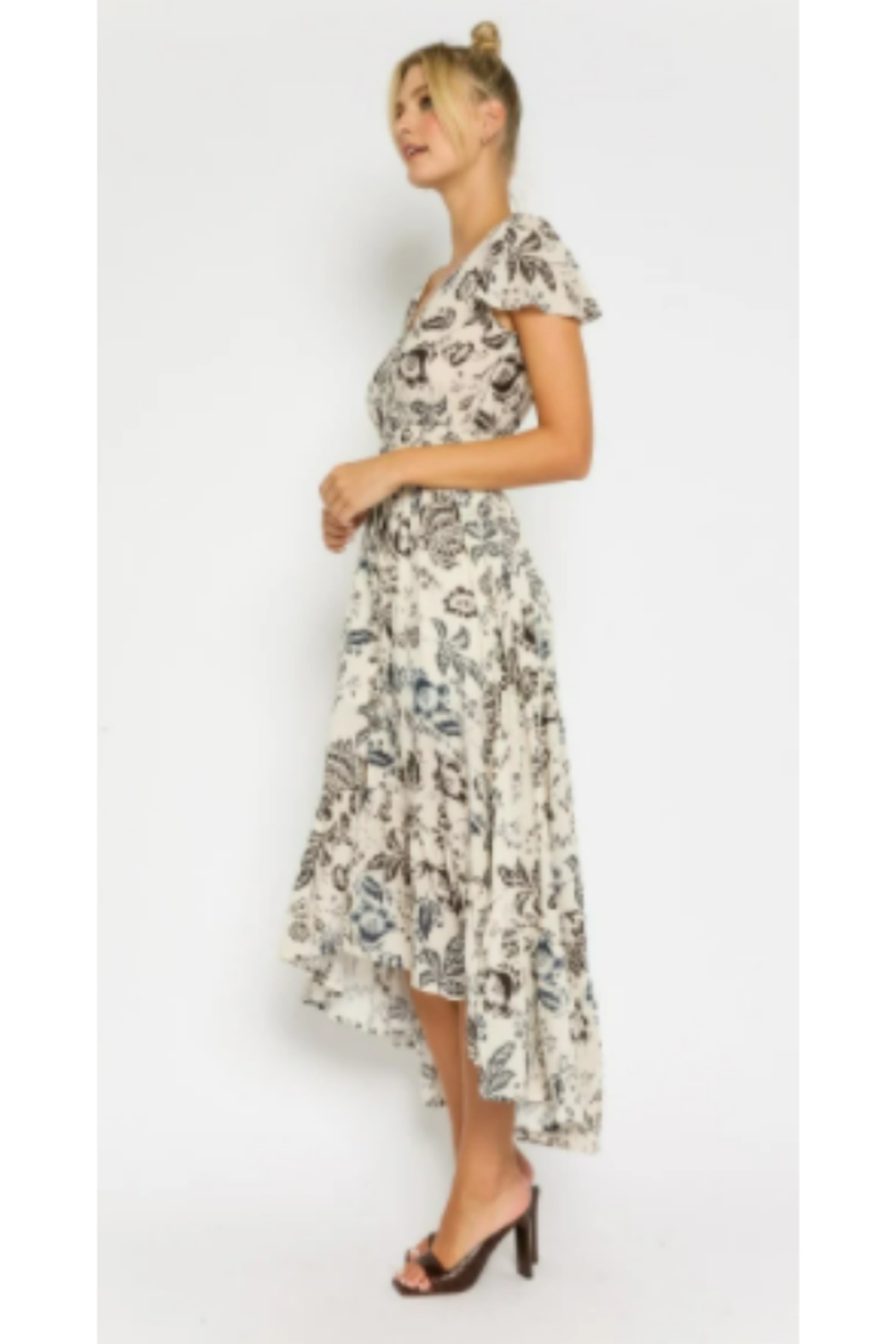 Olivaceous  Floral Drawstring Maxi Dress - Front Full Image