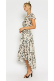Olivaceous  Floral Drawstring Maxi Dress - Front full body