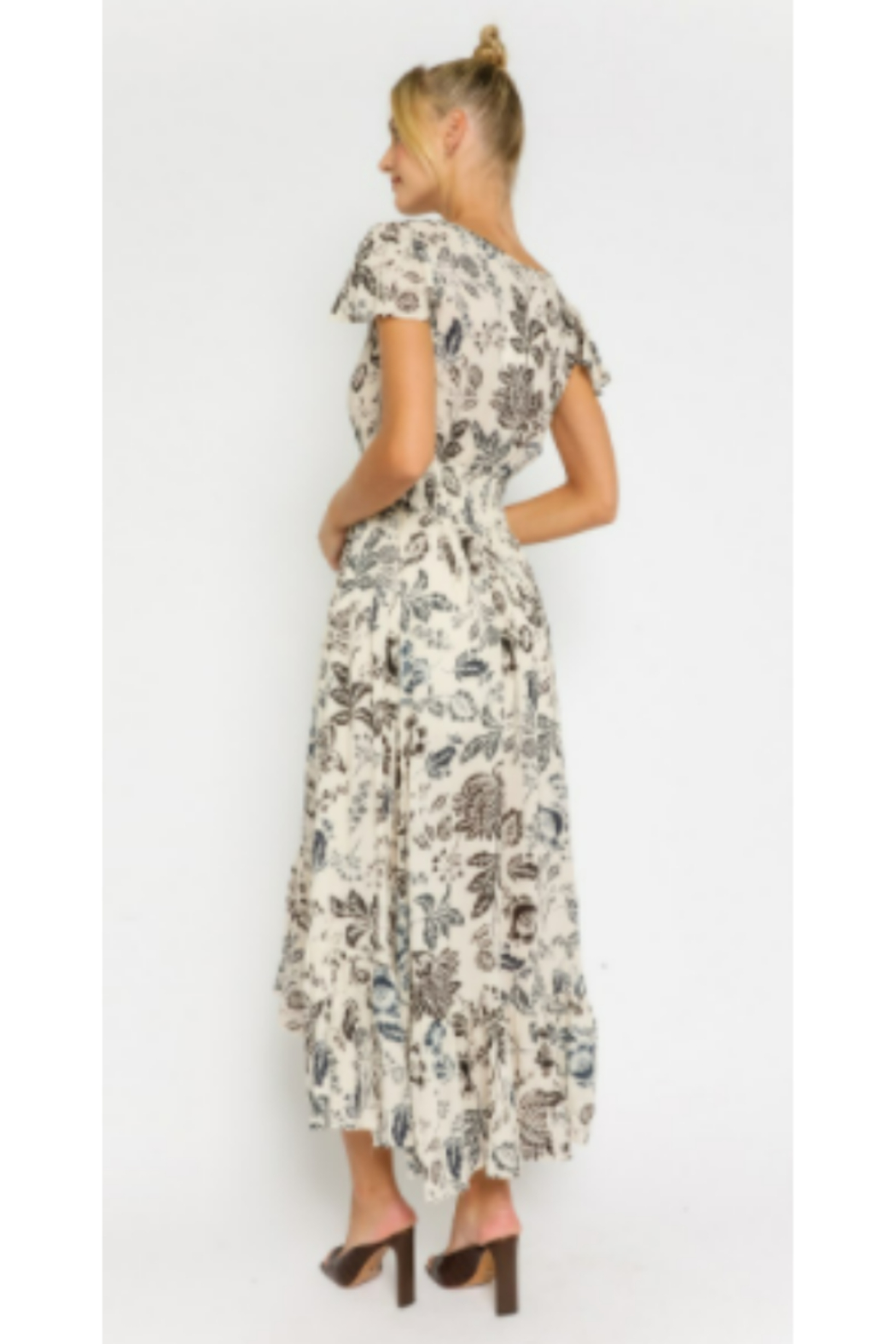 Olivaceous  Floral Drawstring Maxi Dress - Side Cropped Image
