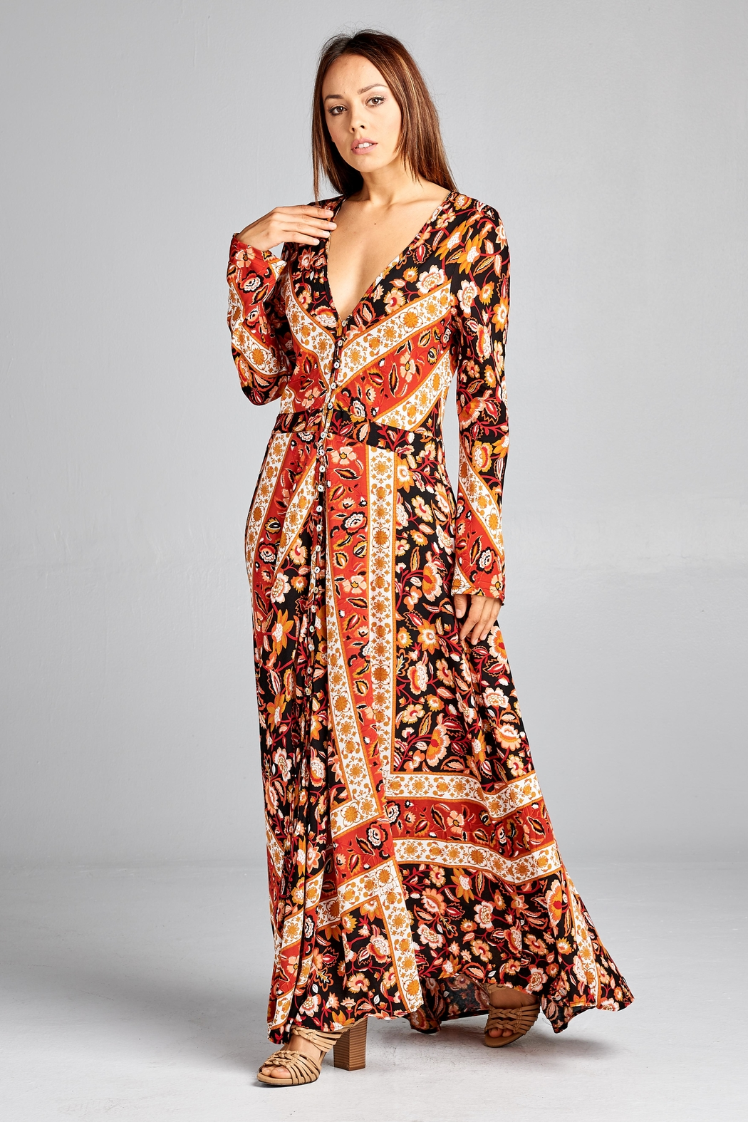 Racine Floral Dreamy-Romantic Maxi-Dress - Main Image